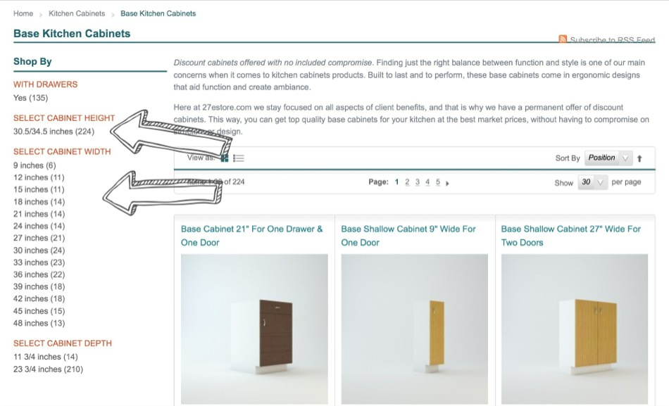 Select Cabinet Measurements
