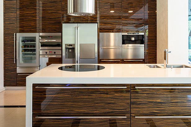 Acrylic High Gloss Wood Veneer Cabinet Doors