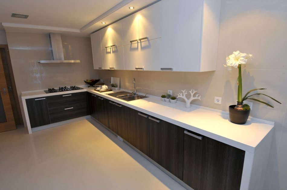 Anthracite Oak and High Gloss Lacquered RAL 9010 Pure White