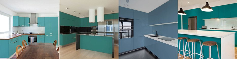 Turquoise The Cool Kitchen Color Cabinet Trend