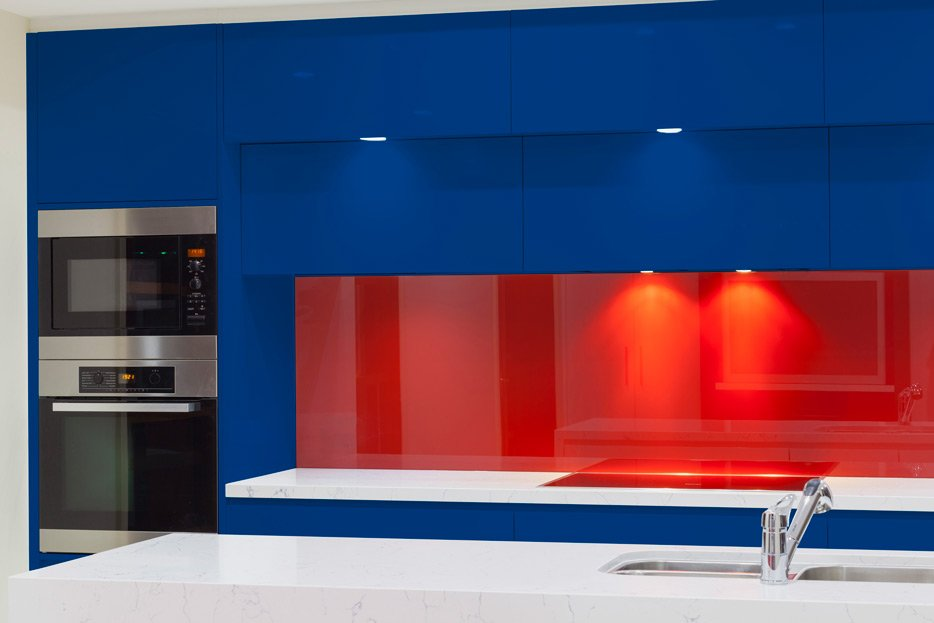 Signal Blue kitchen cabinets