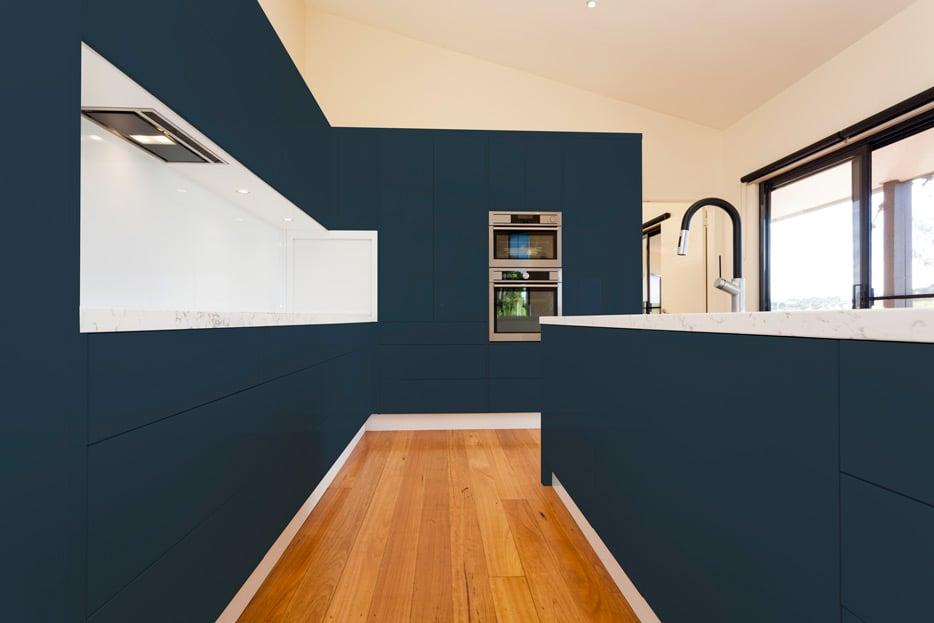 Grey Blue kitchen cabinets