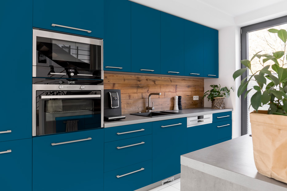Azure Blue kitchen cabinets
