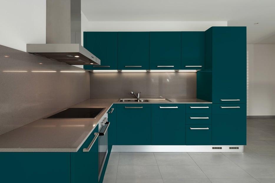 Ocean Blue kitchen cabinets