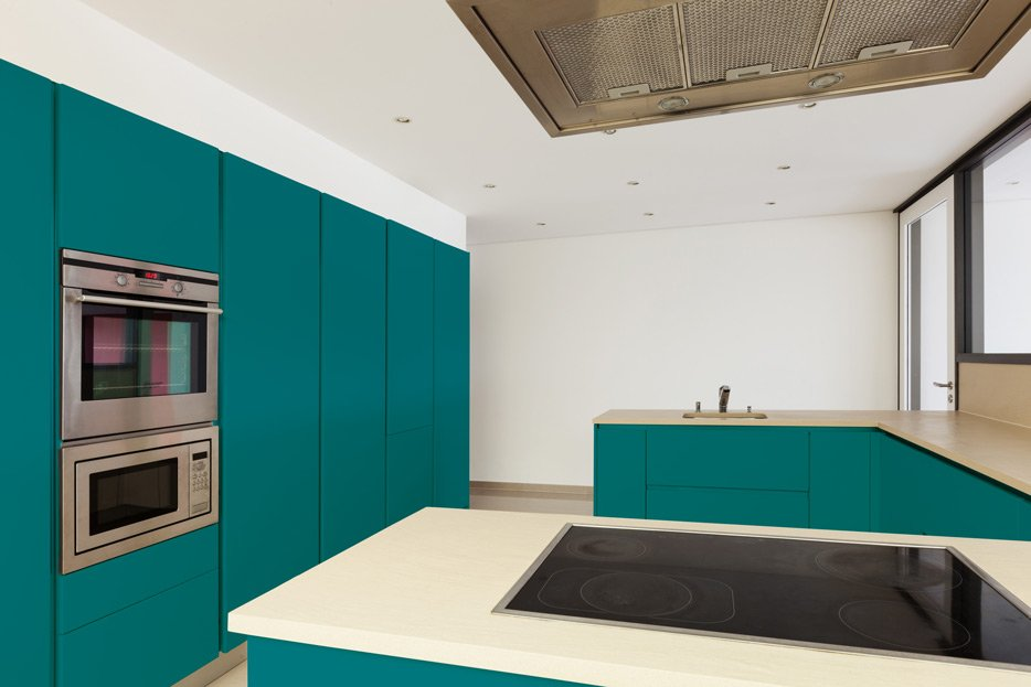 Water Blue kitchen cabinets