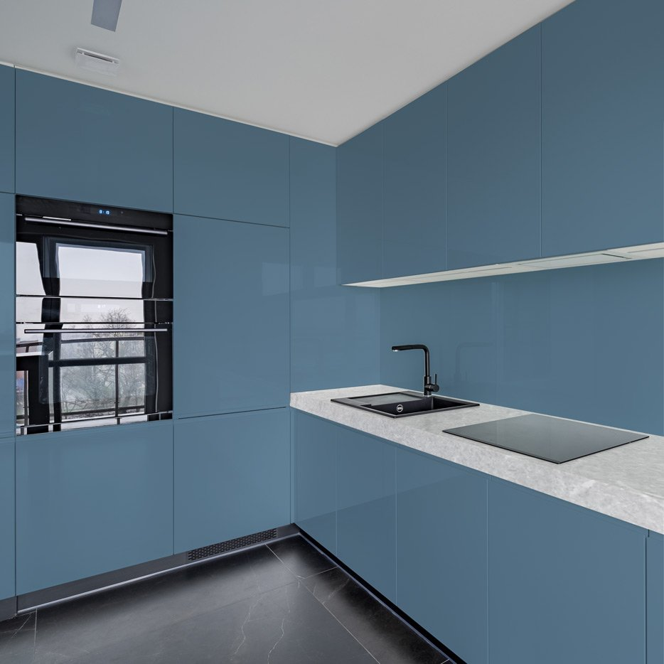 Pastel Blue kitchen cabinets