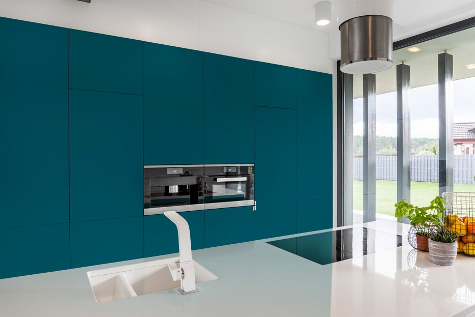 Pearl Gentian Blue kitchen cabinets