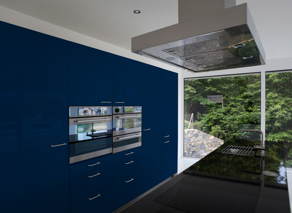 Pearl Night Blue kitchen cabinets