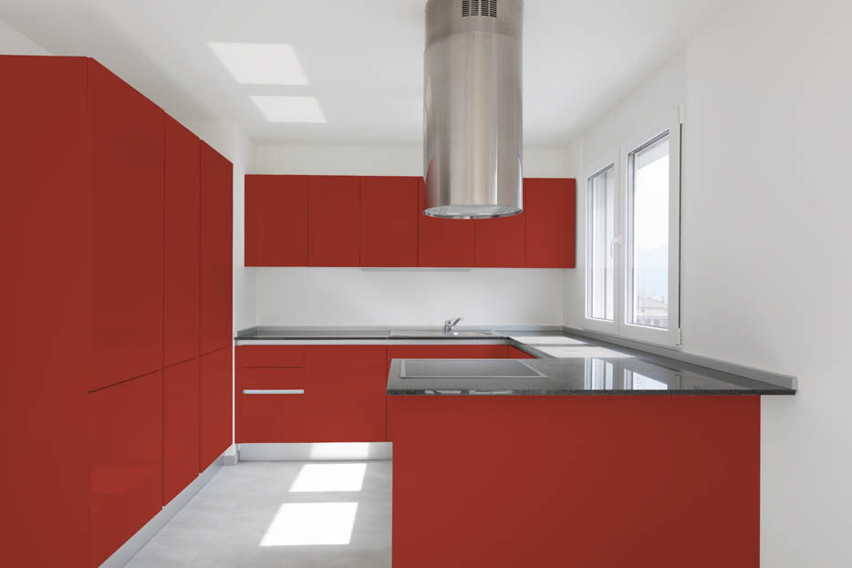 Coral Red Kitchen