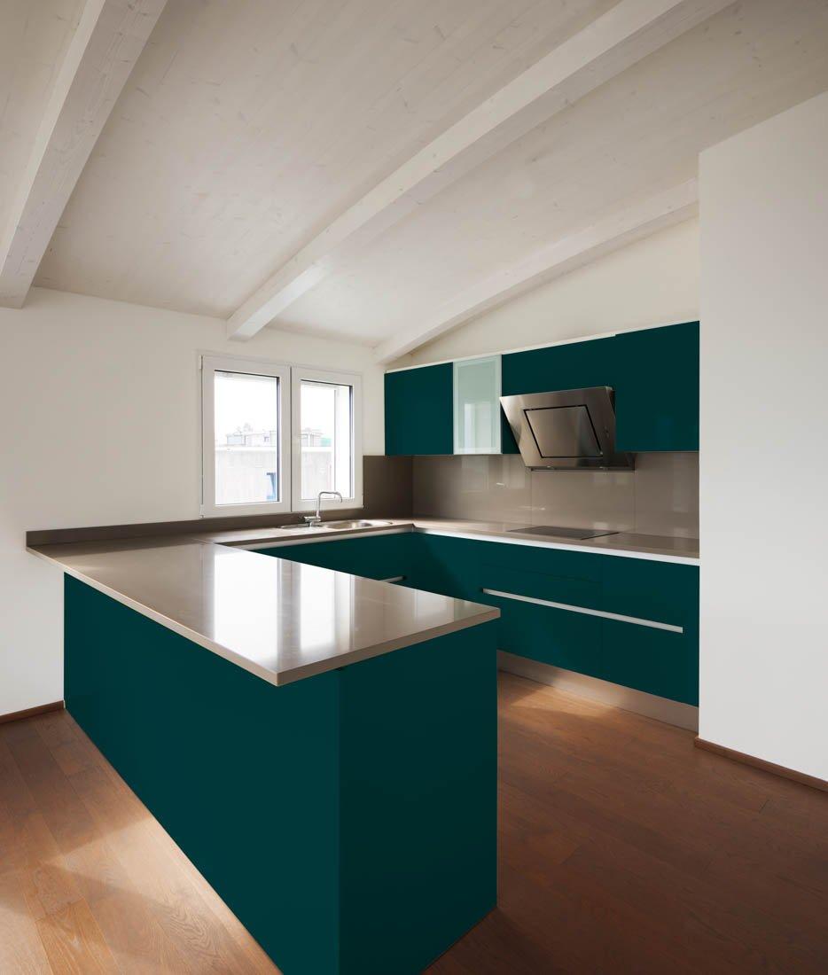 Blue-Green Kitchen Design