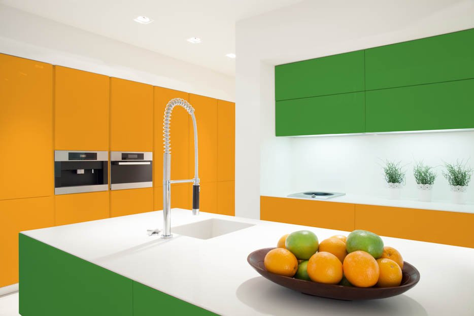 Green and Orange Kitchen Cabinetry