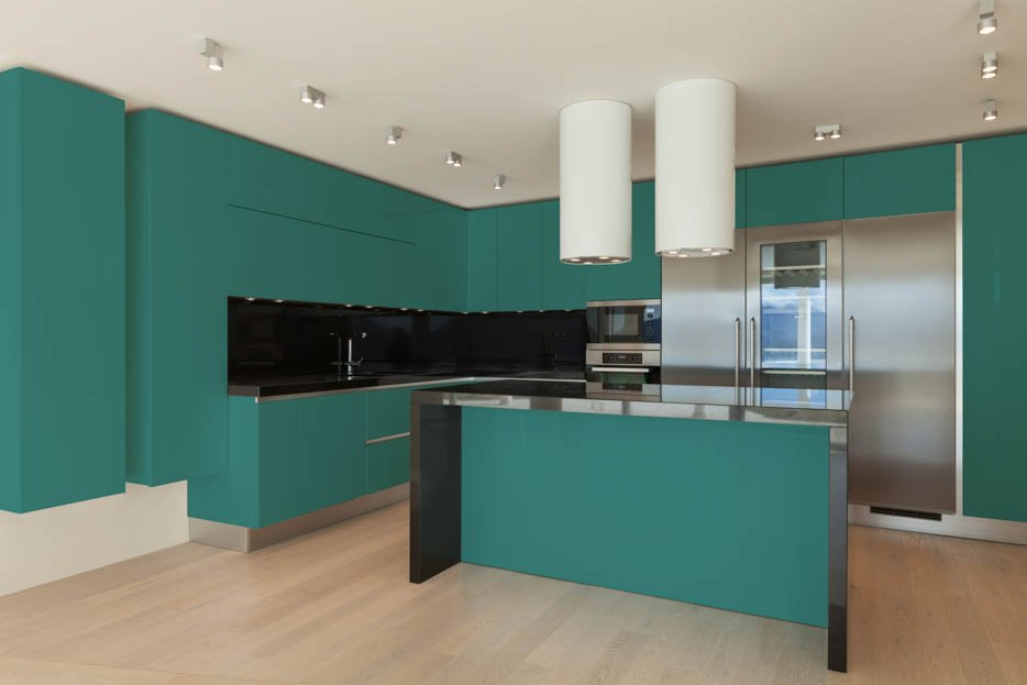 Mint Turquoise and Stainless Steel Kitchen Design