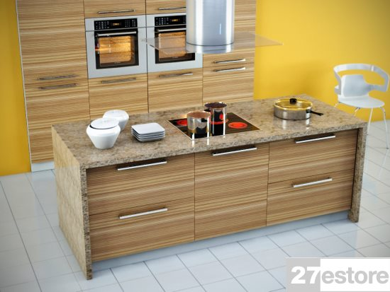 Zebrawood Tall kitchen cabinets