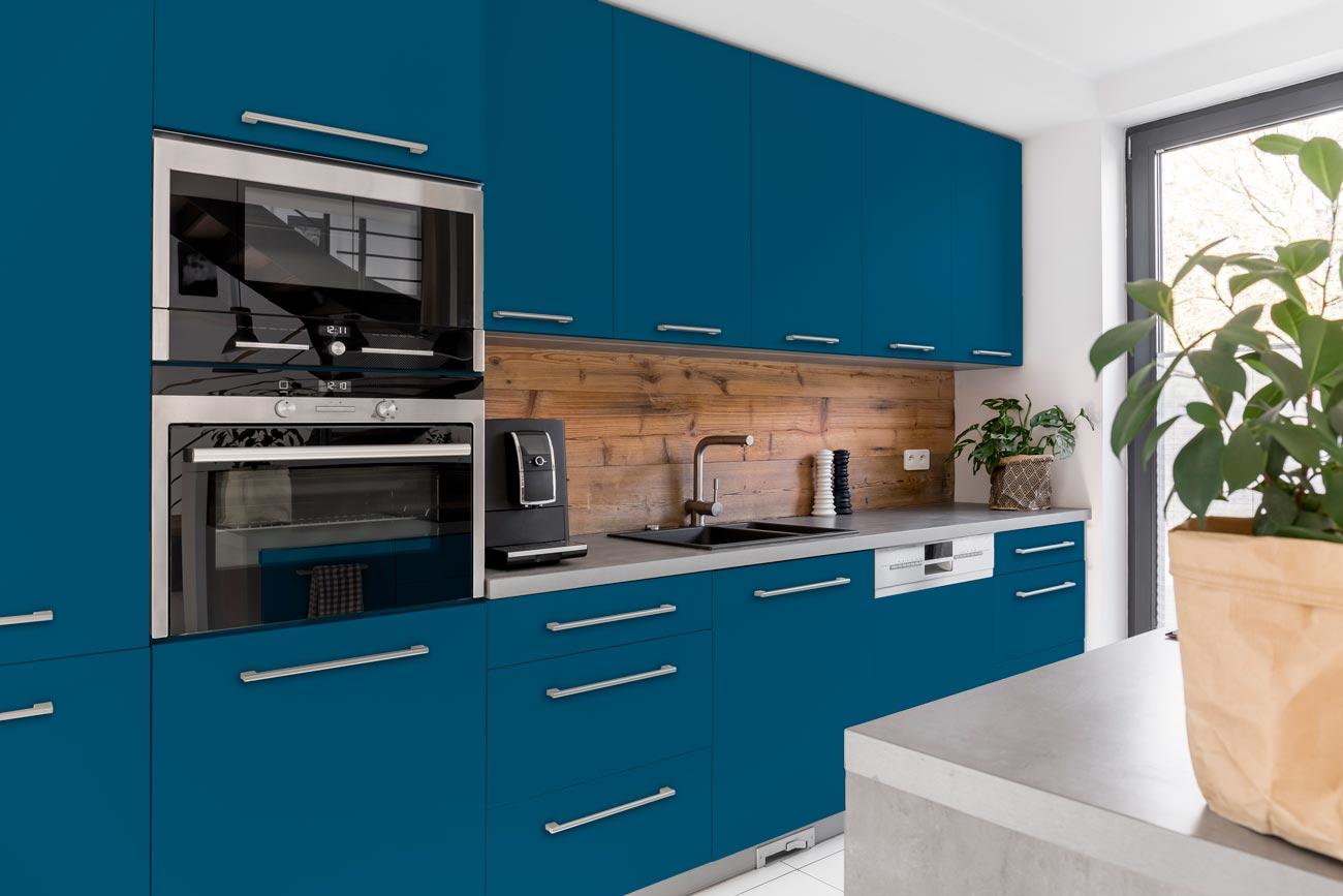 RAL 5009 Azure Blue Matte Kitchen Cabinets