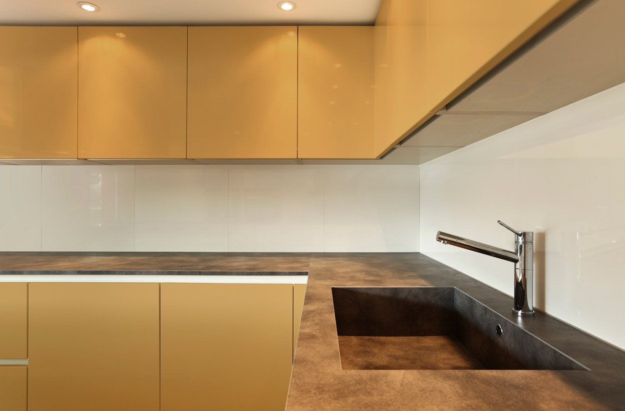 RAL 1002 Sand Yellow High Gloss Kitchen Cabinets