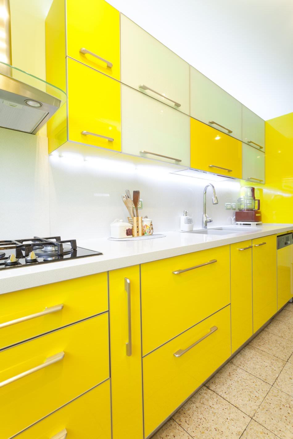 RAL 1026 Luminous Yellow High Gloss Kitchen Cabinets