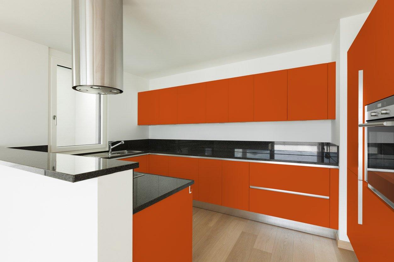RAL 2009 Traffic Orange Matte Kitchen Cabinets
