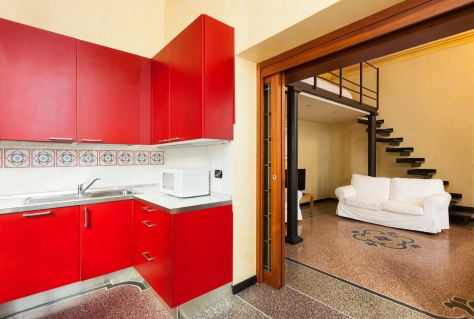 RAL 3024 Luminous Red Matte Kitchen Cabinets