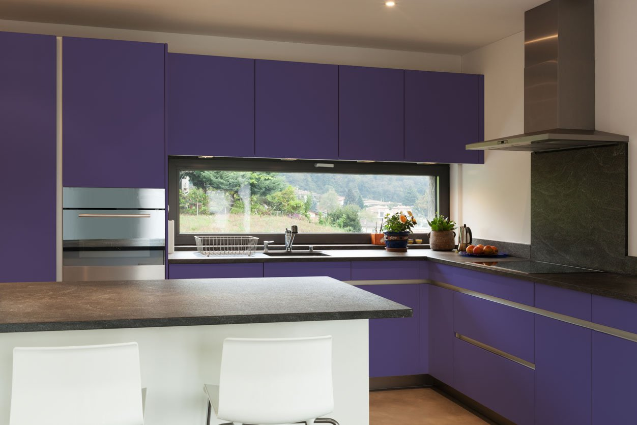 RAL 4005 Blue Lilac Matte Kitchen Cabinets