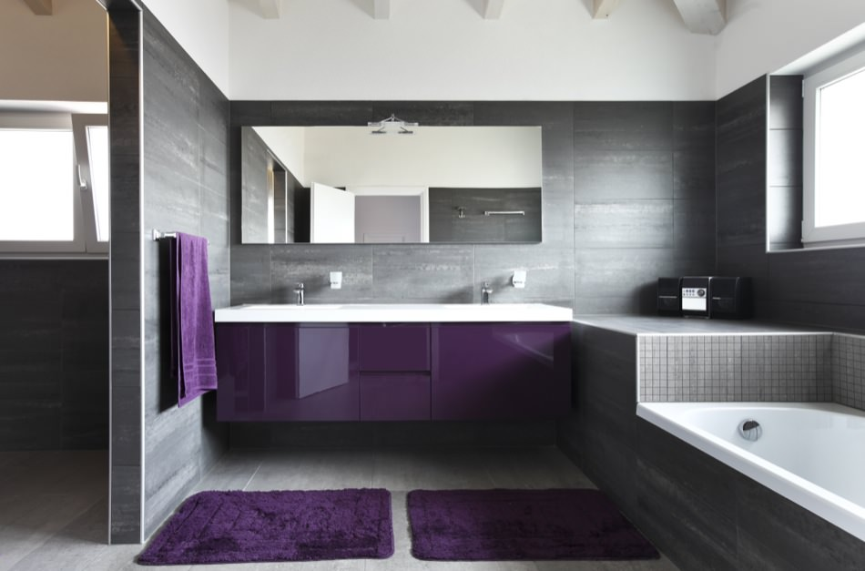 RAL 4005 Blue Lilac High Gloss Kitchen Cabinets