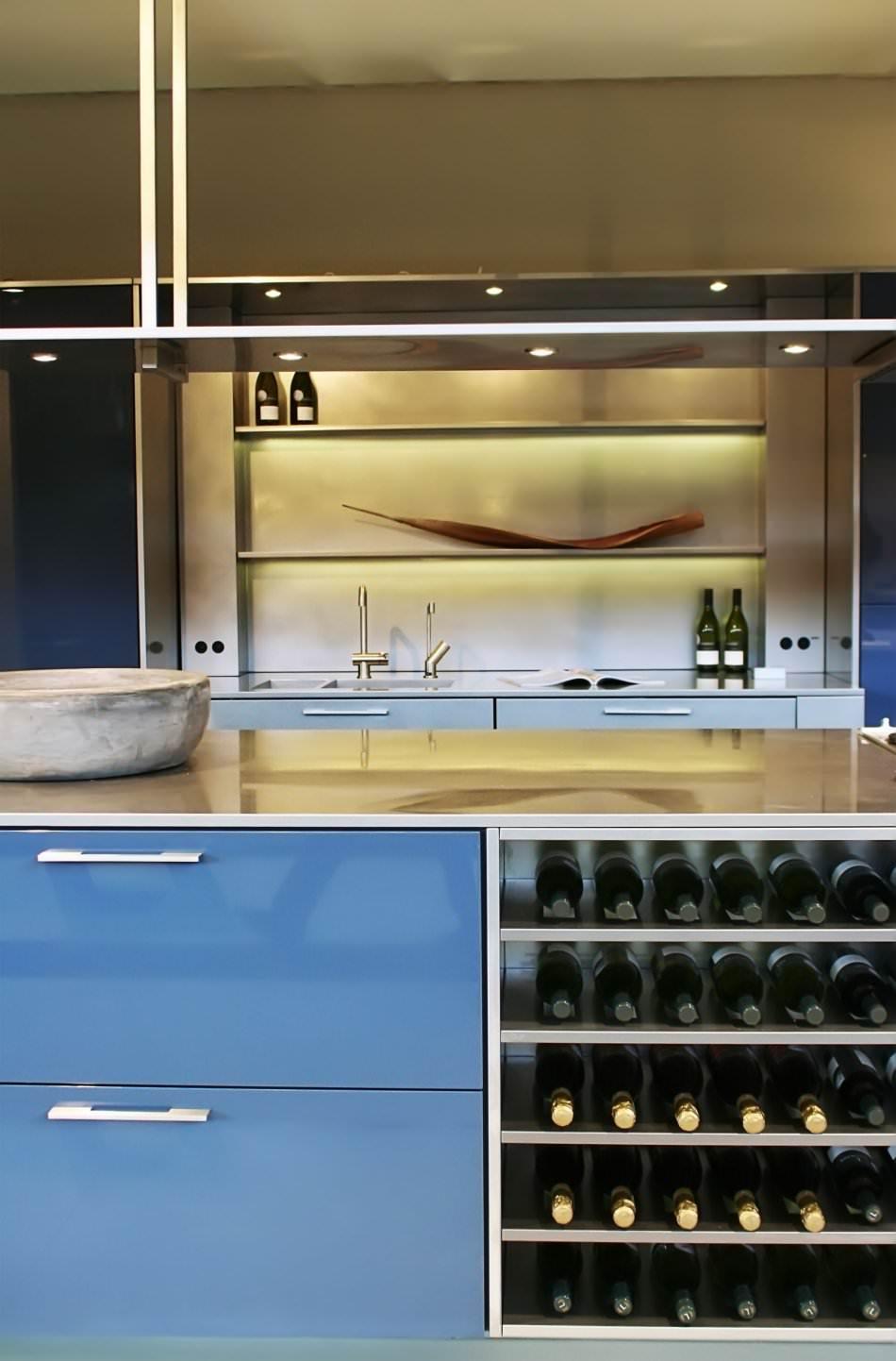 RAL 5012 Light Blue High Gloss Kitchen Cabinets