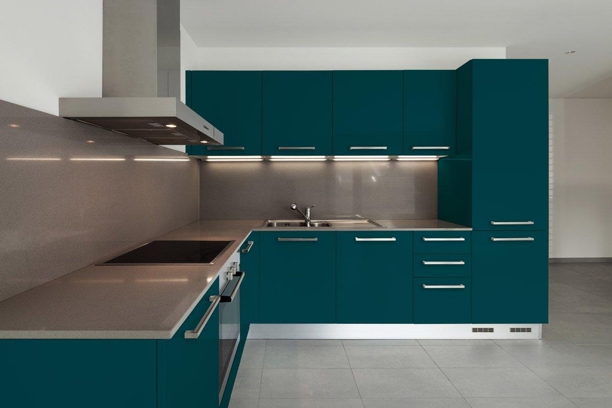 RAL 5020 Ocean Blue Matte Kitchen Cabinets