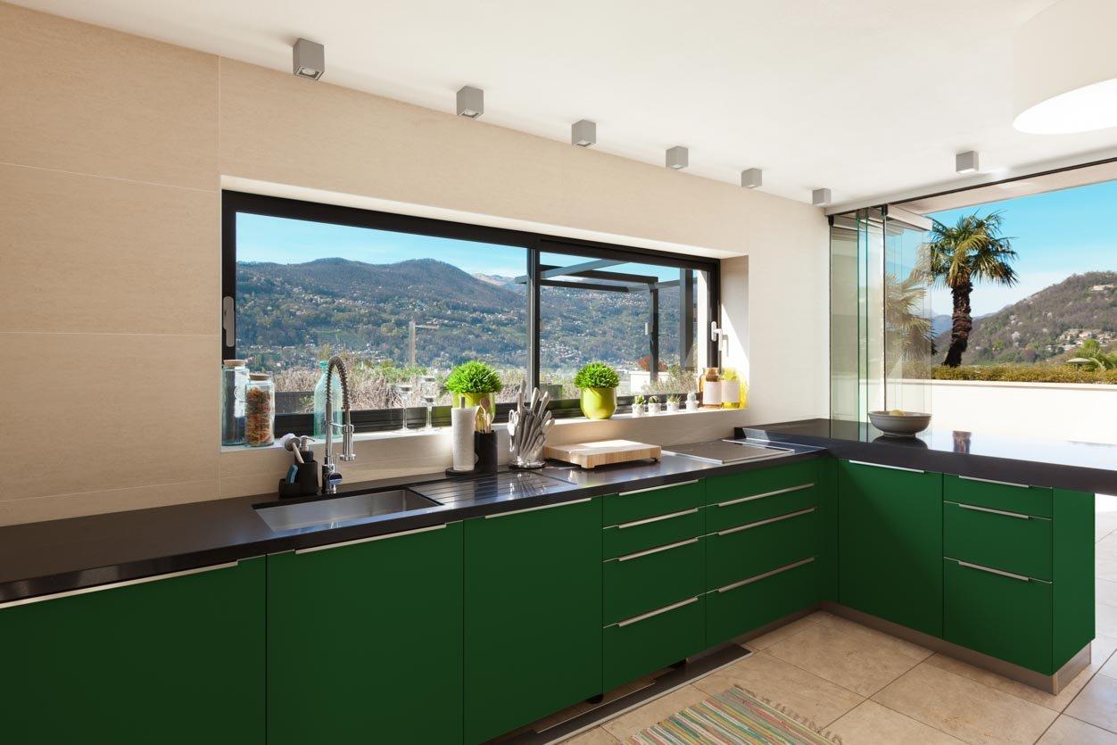 RAL 6001 Emerald Green Matte Kitchen Cabinets