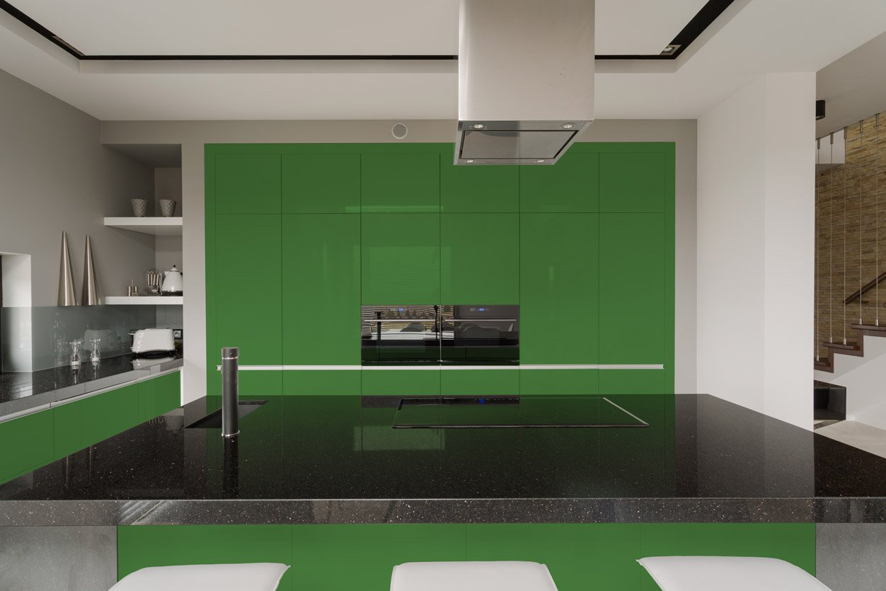 RAL 6017 May Green High Gloss Kitchen Cabinets