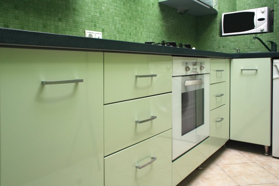 RAL 6019 Pastel Green High Gloss Kitchen Cabinets