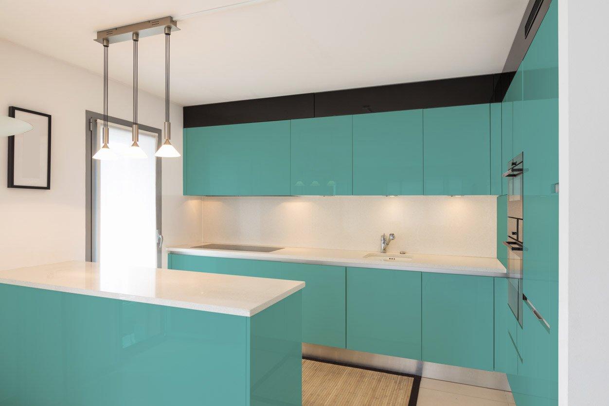 RAL 6027 Light Green High Gloss Kitchen Cabinets