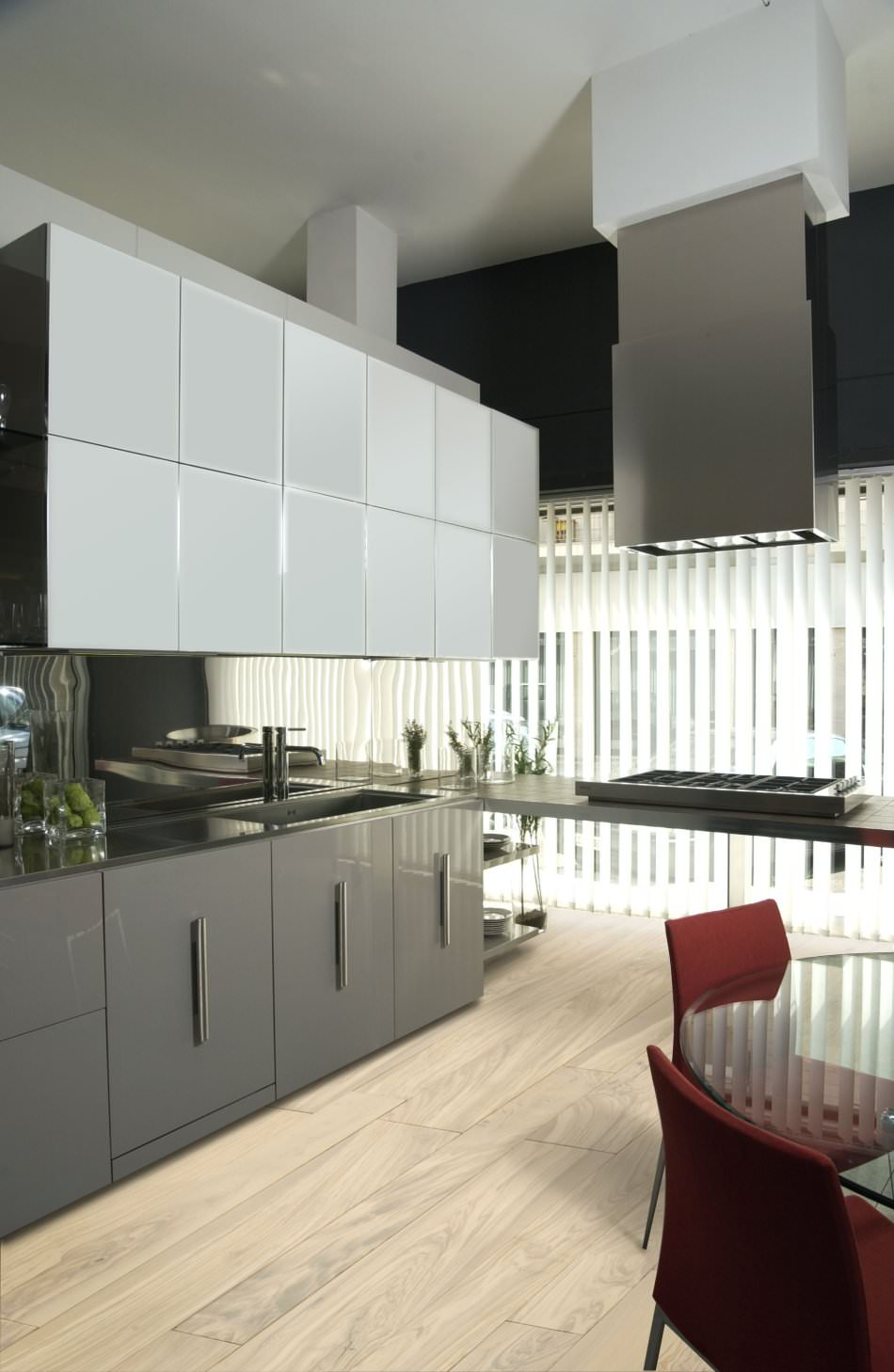 RAL 7037 Dusty Grey High Gloss Kitchen Cabinets