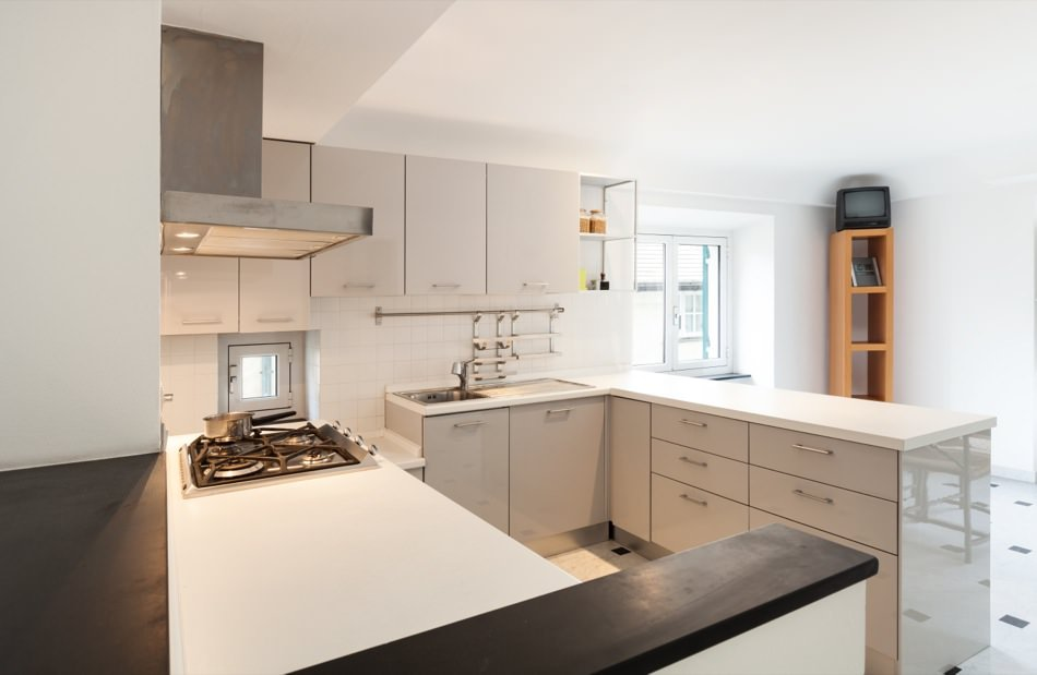 RAL 9002 Grey White High Gloss Kitchen Cabinets
