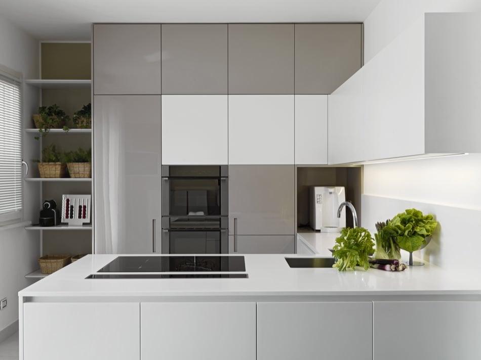 RAL 7040 Window Grey High Gloss Kitchen Cabinets