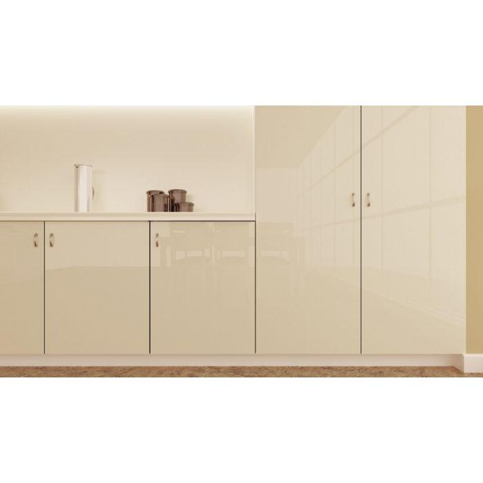 High Gloss Polyester Almond Cream Cabinet Doors