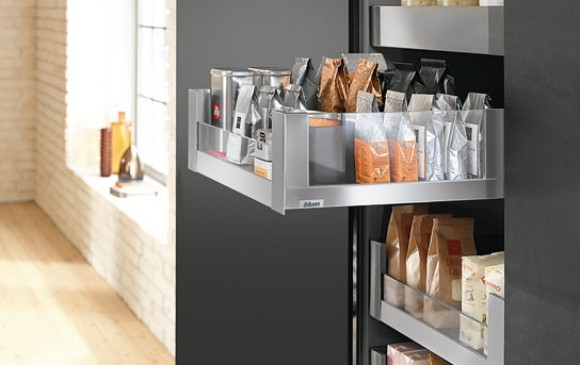 Blum Legrabox with side glass insert