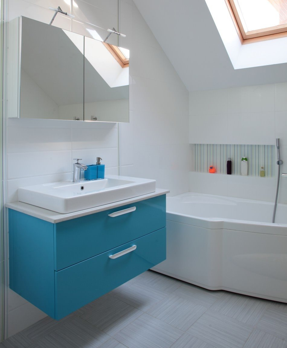 RAL 5015 Sky Blue High Gloss Kitchen Cabinets