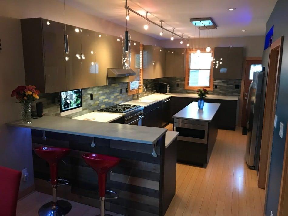 RAL 7006 Beige Grey High Gloss Kitchen Cabinets