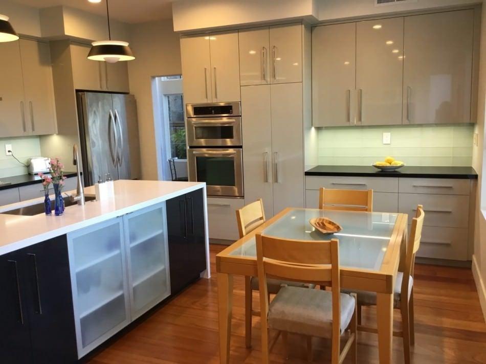 RAL 7044 Silk Grey High Gloss Kitchen Cabinets