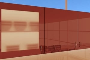 High Gloss Polyester Bordo Red Cabinet Doors