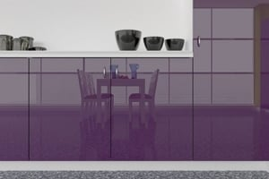 High Gloss Polyester Violet Purple Cabinet Doors