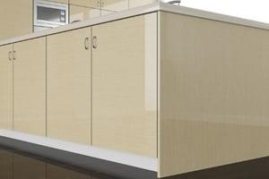 High Gloss Bleached Oak Cabinet Doors