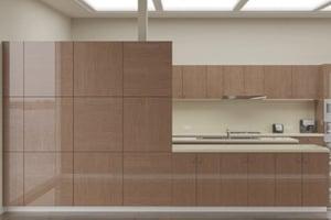 High Gloss Canaletto Walnut Rift Cut Cabinet Doors
