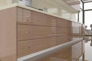 High Gloss Canaletto Walnut Straight Grain Cabinet Doors