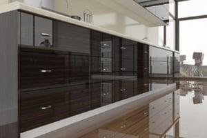 High Gloss Dark Ebony Macassar Cabinet Doors