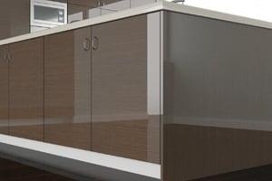 High Gloss Dark Oak Cabinet Doors