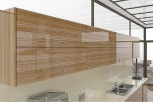 High Gloss Zebrawood Veneer Cabinet Doors
